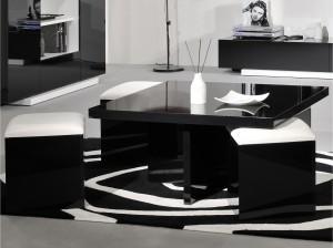 Table basse carrée avec pouf laqué noir Nolta
