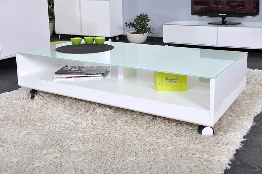 Table basse blanc laqu ma table basse - Table de salon rectangulaire ...