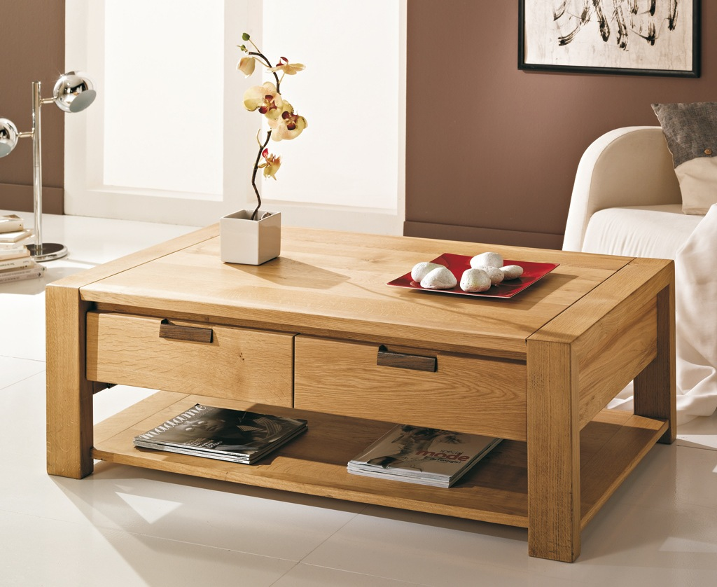 Table basse relevable extensible bois massif for Table basse en bois