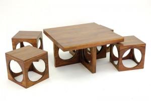 Table basse et tabourets en bois Luna Palissandre