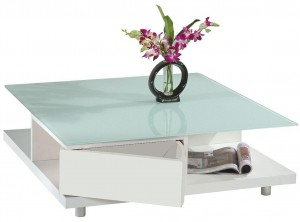 Table basse carrée blanche moderne New York