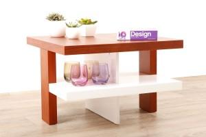 Table basse design laquée blanche et bois Glasgow