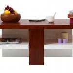 Table basse design laquée blanche et bois Willow