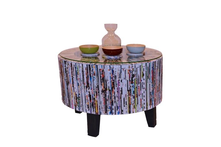 Table basse en papier recyclé