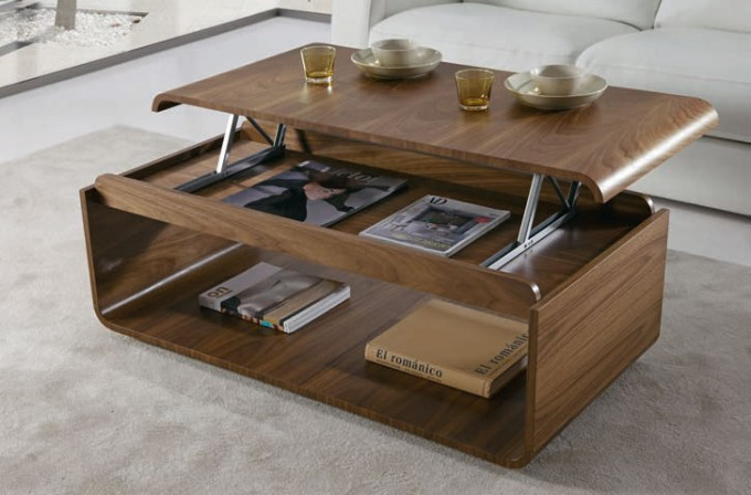 Zoom sur la table basse avec plateau relevable - Table de salon plateau relevable ...
