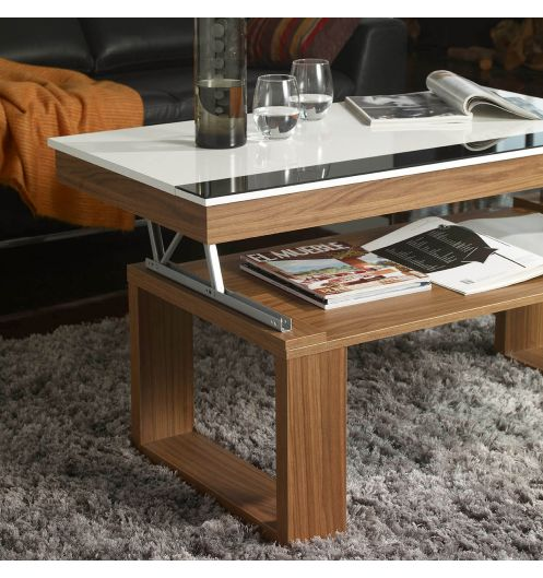 Zoom sur la table basse avec plateau relevable for Table de salon relevable