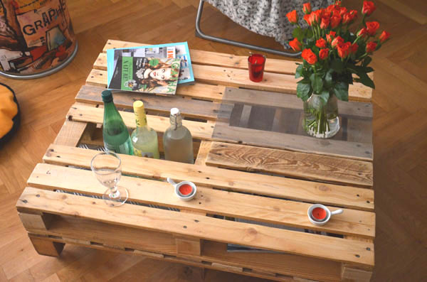 Table rabattable cuisine paris table basse bois de palette - Table palette de bois ...