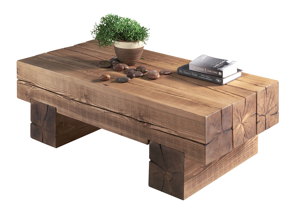 Table basse bois poutre for Fabriquer sa table basse en bois