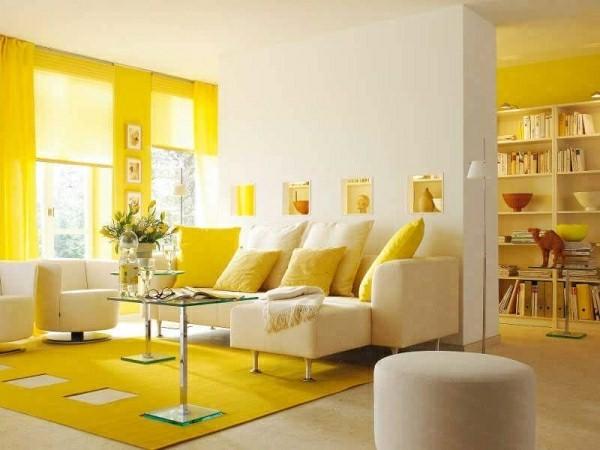 jaune-salon-idées-rideaux-installation-tapis-jaune-citron