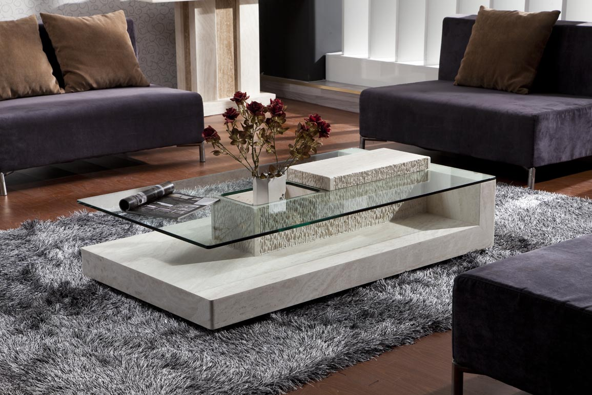 table basse en verre pied en pierre. Black Bedroom Furniture Sets. Home Design Ideas