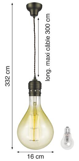 """Suspension Oros bronze + Ampoule Décorative Géante """"Vintage"""" E40 100W"""