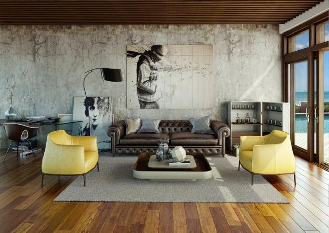 décoration de salon vintage