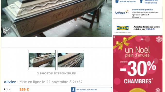 un cercueil en bois sculpt vendu par un vannetais comme table basse sur le site le bon coin. Black Bedroom Furniture Sets. Home Design Ideas