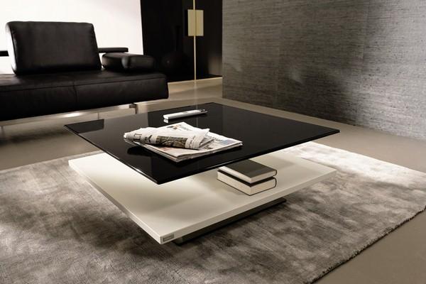 Blanc-et-noir-laque-Table-basse-en-verre